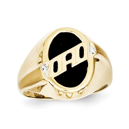 10k Yellow Gold Men s Diamond and Black yx DAD Ring Walmart