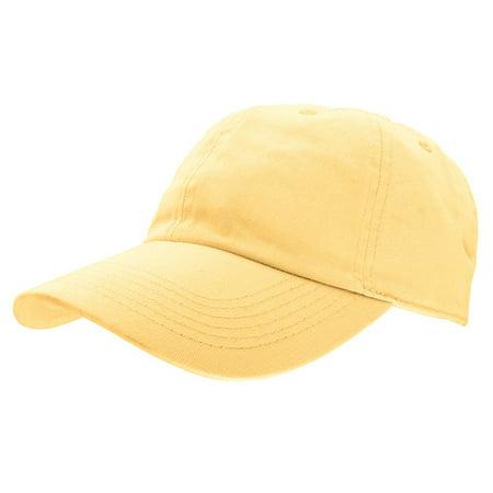 Falari Baseball Cap Hat 100% Cotton Adjustable Size Light Yellow - Yellow Alpine Hat