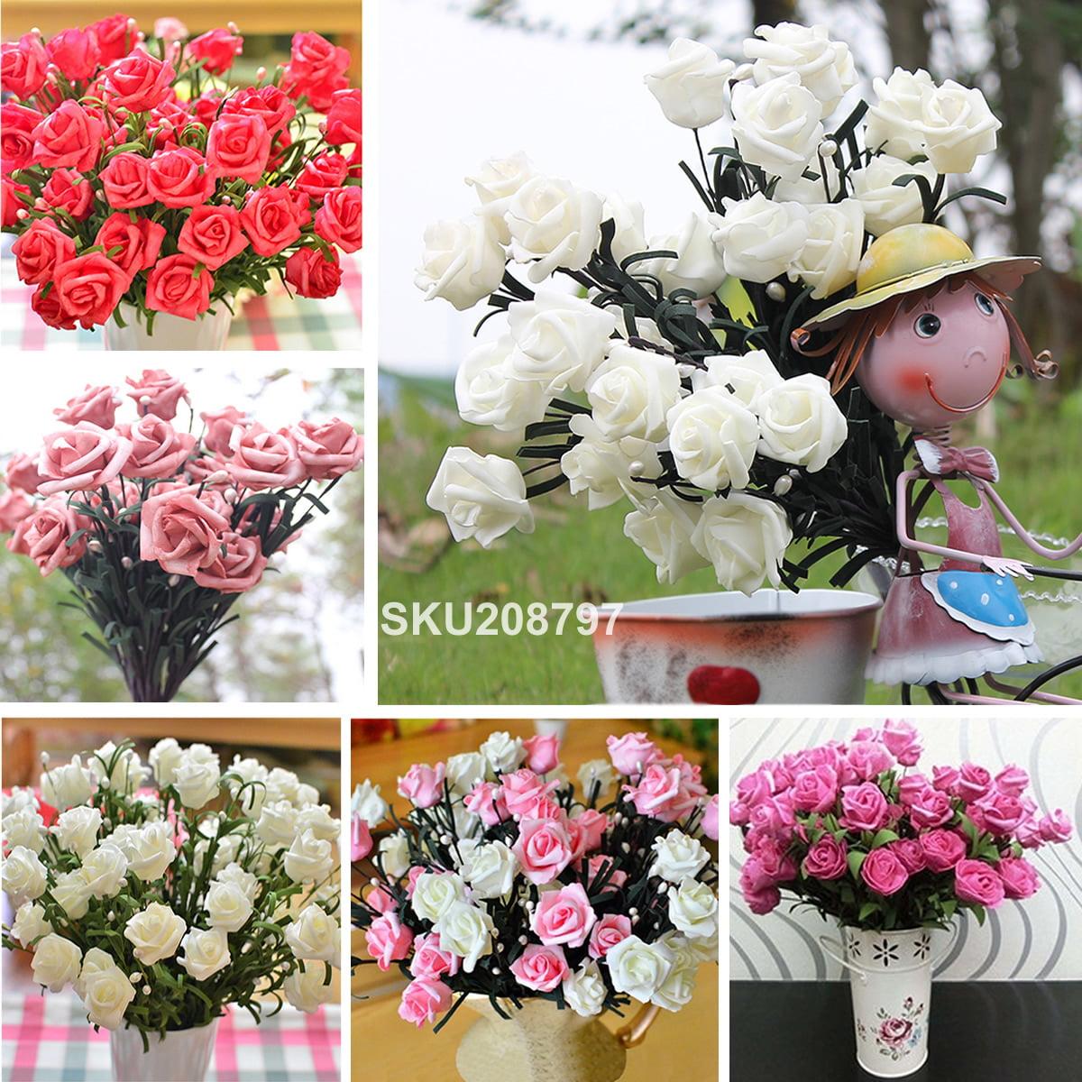 1 Bouquet 6 Heads Flowers Artificial Rose Silk Flower Leaf Home Wedding Decor Bridal