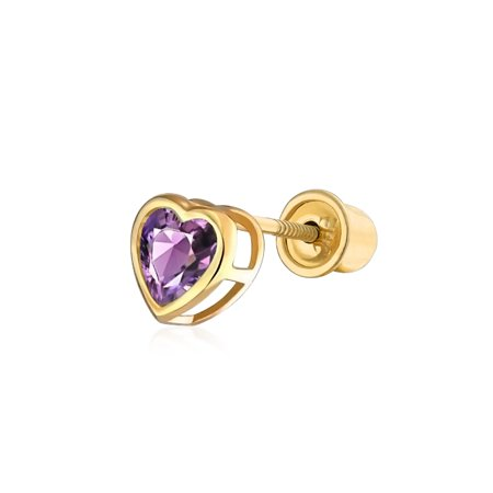 .25CT Cubic Zirconia Heart Safety Screw back 1 Piece Stud Helix Cartilage Earring REAL 14K Solid Gold 4mm More Colors