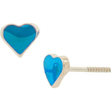 14K Solid Gold Heart Baby Blue Enamel Stud Earrings