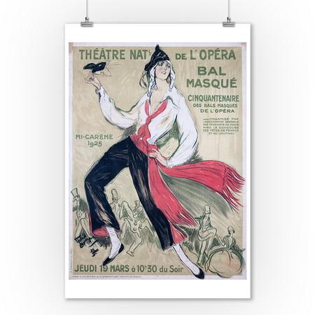 Bal Masque - Theatre Nat'l de l'Opera Vintage Poster (artist: Domergue) France c. 1925 (9x12 Art Print, Wall Decor Travel Poster) - Musique De Halloween Film