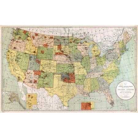 Map Reservations 1892 Nindian Reservations Within The United States And Territories Lithograph 1892 Poster Print By Granger Collection