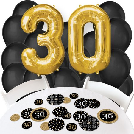 Adult 30th Birthday - Gold - Confetti and Balloon Birthday Party Decorations - Combo Kit - 30th Birthday Decorations