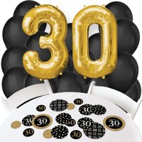 adult 30th birthday - gold - confetti and balloon birthday party decorations - combo kit