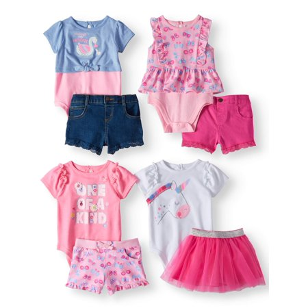 Garanimals Mix & Match Outfits Kid-Pack Gift Box, 8pc Set (Baby Girls)