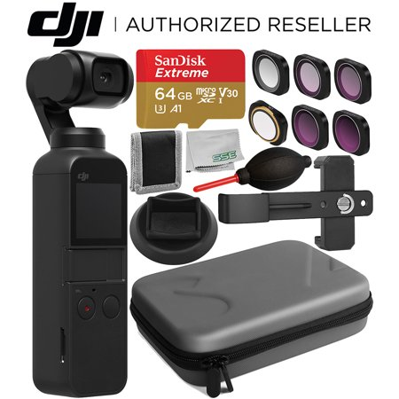 DJI Osmo Pocket Gimbal with Essential Accessory Bundle – Includes: SanDisk Extreme 64GB microSDXC Memory Card + Filter Set + Carrying Case + Phone Holder Bracket + Supporting Base Stand +