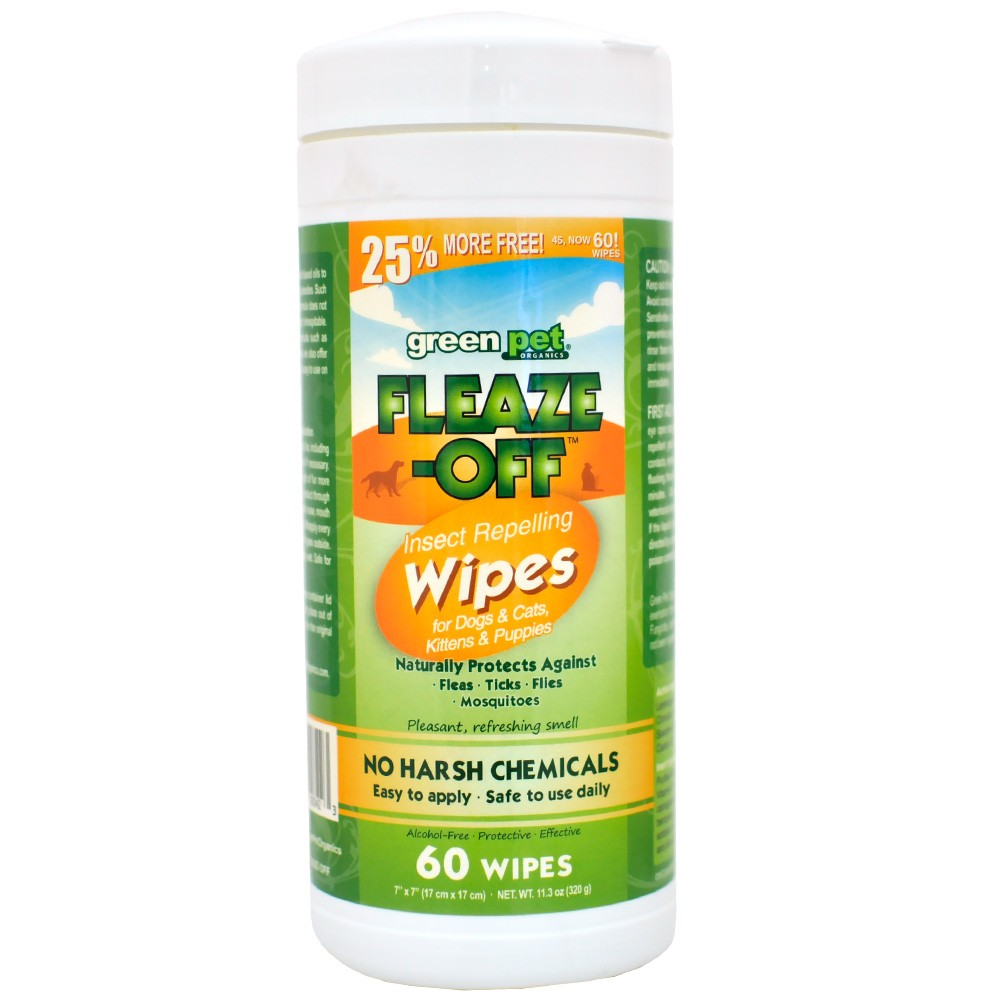 Green Pet FleazeOff Wipes for Dogs and Cats, 60 Wipes