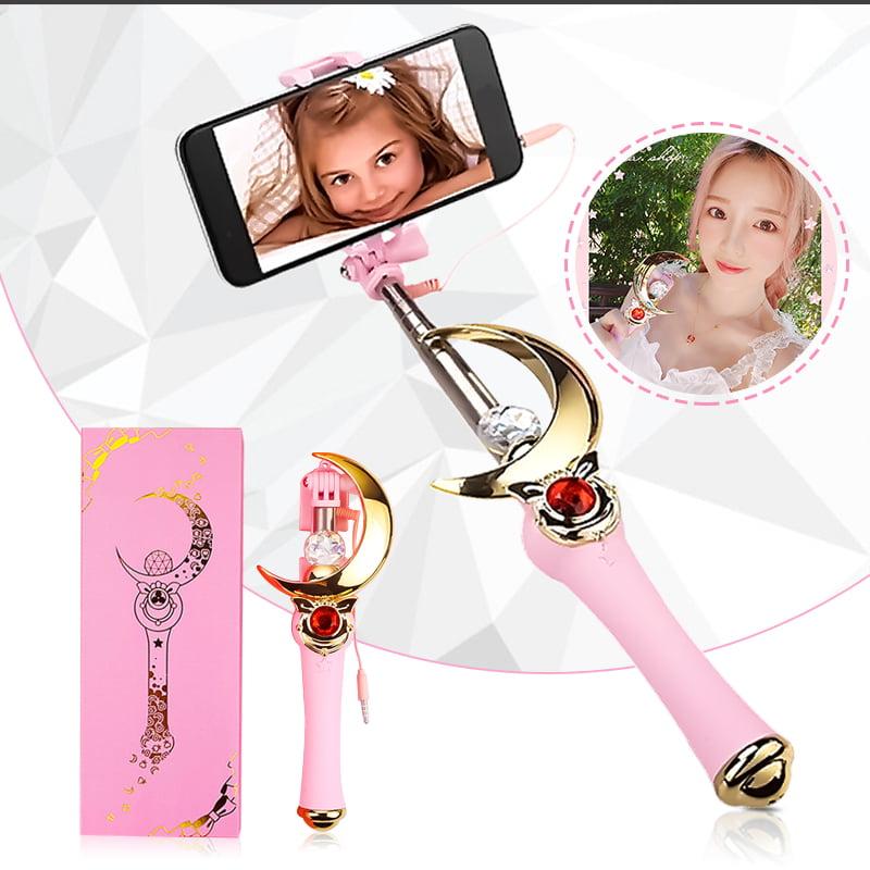 "Girl Extendable Selfie Stick - Mini Selfiestick Cosplay Prop - Sailor Moon Magic Henshin Wand phone Stick Rod - Universal for 5.5"" below Screen,for iPhone Android Galaxy Smartphone"