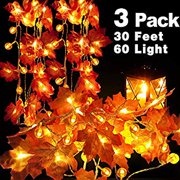 3 Pack Pumpkin Maple Leaf String Lights Pumpkin Decor for Thanksgiving Wedding Party Holiday Festival Home Garland Tree Indoor Outdoor Decoration,Total 30 ft 60 LEDs 3AA Battery Operated