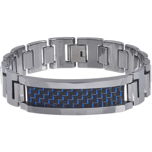Daxx Men's Tungsten Blue and Black Fiber Inlay Link Bracelet