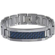 Men's Tungsten Blue and Black Fiber Inlay Link Bracelet