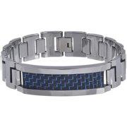 Men's Tungsten Blue and Black Fiber Inlay Link Bracelet