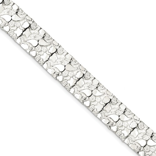 Sterling Silver 8.5in Fancy Nugget Bracelet