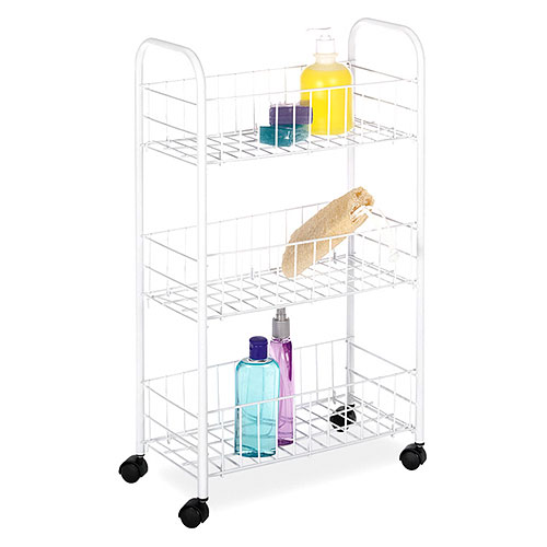 Whitmor 3 Tier Small Wire Rolling Cart White by Whitmor/Earle Industries