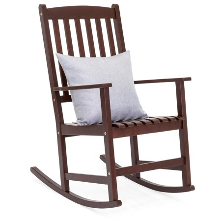 Porch Rocker - Best Choice Products Indoor Outdoor Traditional Wooden Rocking Chair Furniture w/ Slatted Seat and Backrest for Patio, Porch, Living Room, Home Decoration - Brown
