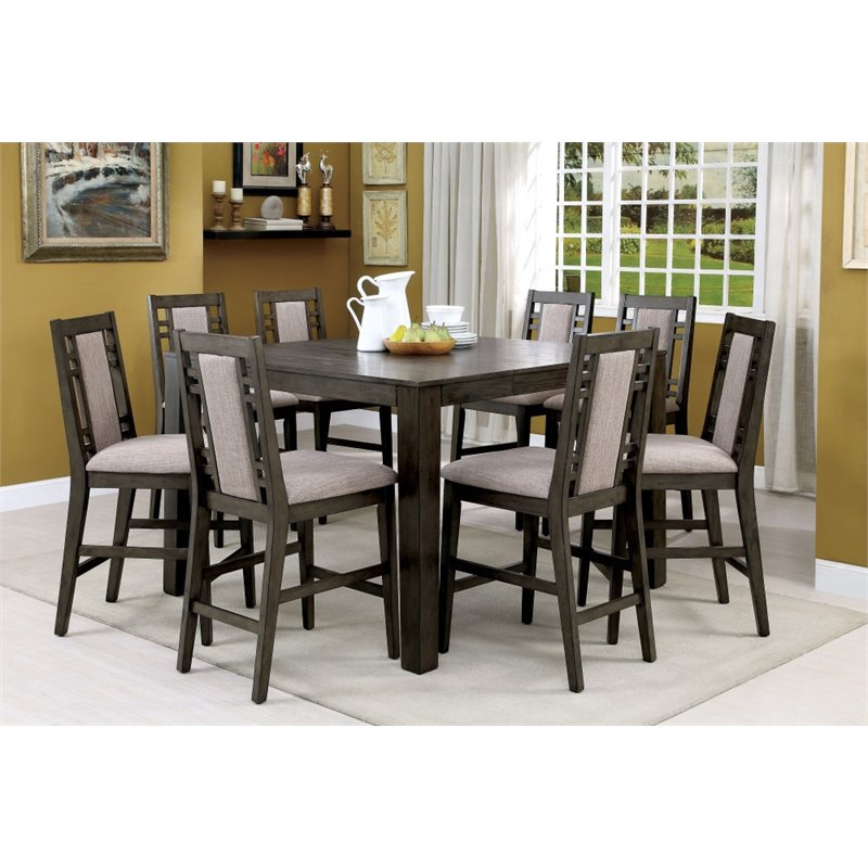 Furniture Of America Attentuer 9 Piece Counter Height Dining Set