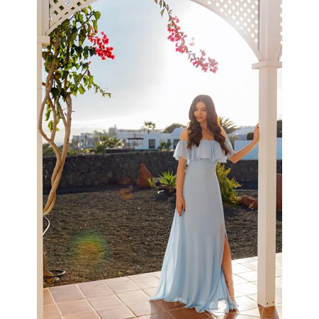 6c94d876391 Ever-Pretty - Ever-Pretty Womens Elegant Long Maxi Off Shoulder Chiffon  Summer Beach Wedding Guest Bridesmaid Dresses with High Slit for Women  07171 Blue US ...