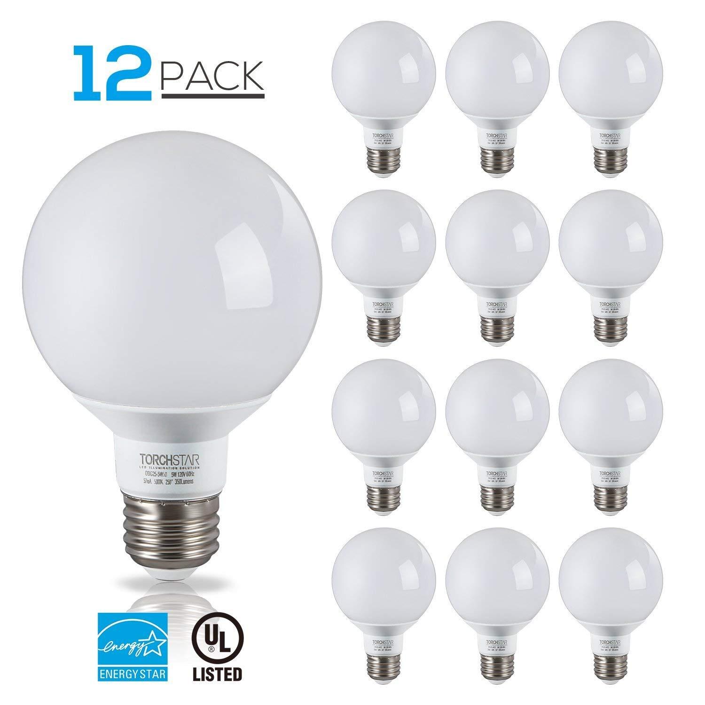 12 Pack 5W G25 LED Bulb, Globe Vanity Light, UL & Energy Star Certified, Medium E26 Base Omnidirectional Bulb, 5000K Daylight, for Pendant Fixture, Vanity Strip, Dressing Room