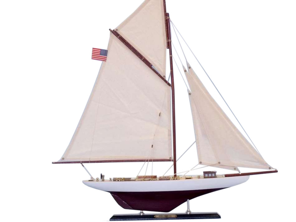 "Columbia Limited 25"" Wood Model Sailing Boat Sailing Boat Model Wooden Yacht Model Model Wooden Sailboat Sailing Boat Model Not A Model by Handcrafted Nautical Decor"