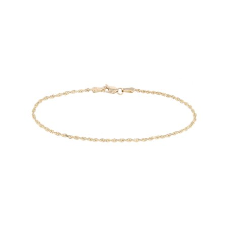 10k Fine Gold Thin Solid Diamond Cut Rope Chain Bracelet And Anklet 2mm 0 08