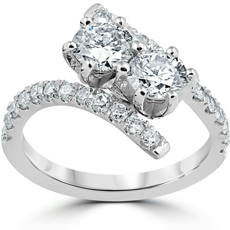 1 Cttw Diamond 2 Stone Forever Us Engagement Anniversary Ring 14K White Gold