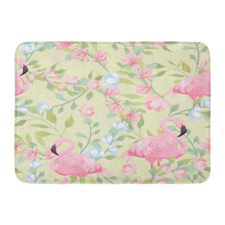 GODPOK Beach Green Floral Gentle Pattern with Pink Flowers and Flamingo Yellow Tropical Beauty Rug Doormat Bath Mat 23.6x15.7 inch