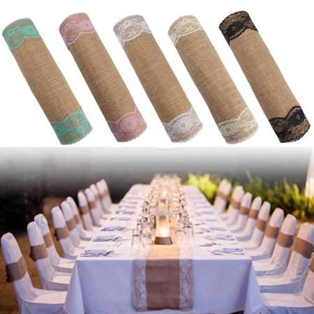 On Cleanarce 280x30cm Natural Vintage Burlap Lace Jute Hessian Table Runner Country Rustic Barn Wedding Decorations,Farmhouse Kitchen Decor - Burlap Aisle Runner With Lace