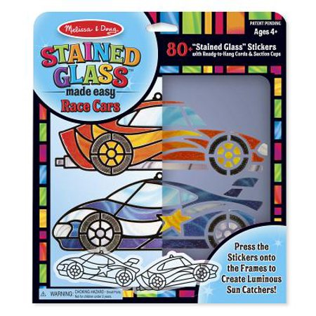 Stained Glass Crafts (Melissa & Doug Stained Glass Made Easy Race Car Ornaments Craft Kit (Makes 2)