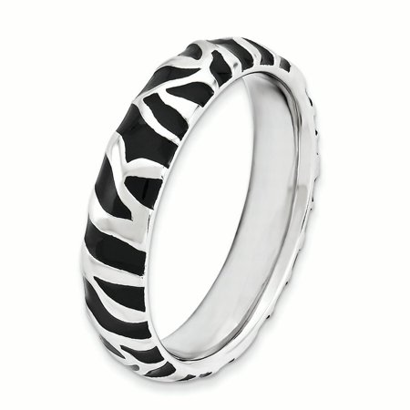Sterling Silver Stackable Expressions Polished Enameled Animal Print Ring Size 6 - image 2 de 3