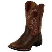 Tony Lama Western Boots Boys 3R Kids Leather Square Toe Dark Tan LL506