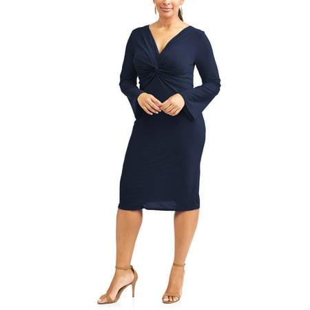 Sexy Black Slinky - Women's Plus Long Sleeve Slinky Knot Front Dress