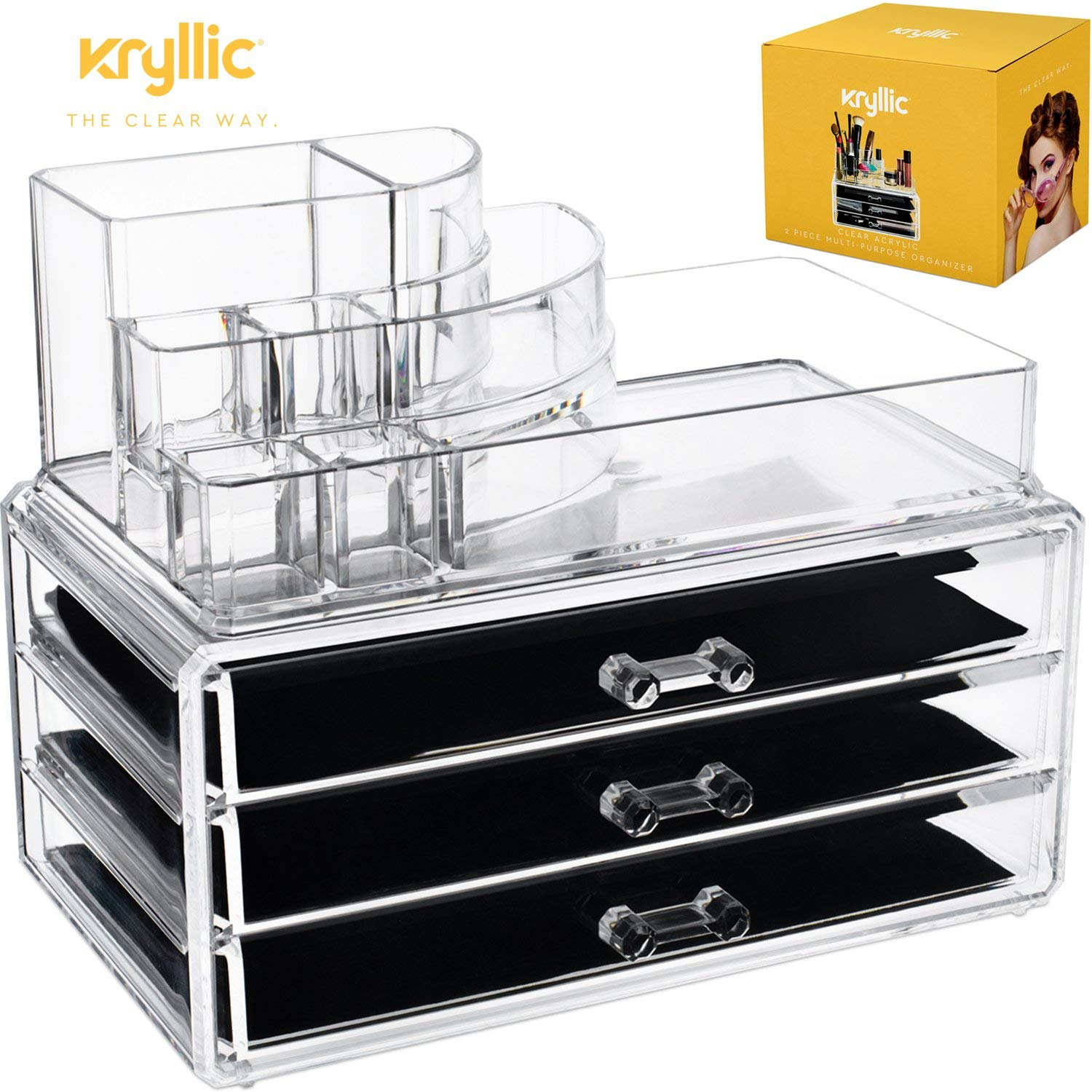 Acrylic Makeup jewelry cosmetic organizer - Set of 3 Extra Deep Drawers That Maneuver Smoothly With Separate Stackable lipstick & Nailpolish Holder Made With the Highest quality Strong Thick Acrylic