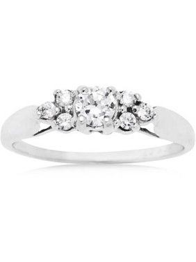 69 Carat T.G.W. CZ 10kt White Gold Engagement Ring