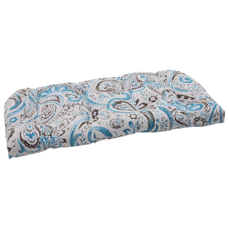 "44"" Turquoise & Gray Tufted Outdoor Paisley Swirl Wicker Loveseat Cushion"