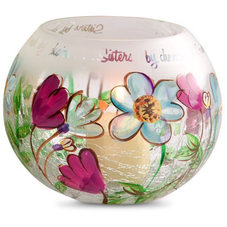 Fields of Joy - Sister by Chance, Friends by Choice Round Crackle Glass Floral Tealight Candle Holder ()