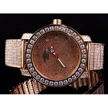 Custom Bezel - Khronos Mens Rose Gold Over Steel Khronos/Joe Rodeo Custom Bezel And Band Diaomond Watch