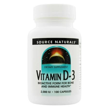 Source Naturals Vitamin D-3 2000IU, 100 Capsules