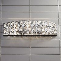 """Barnes and Ivy Modern Wall Light Chrome Hardwired 22"""" Wide Fixture Oval Crystal Accents for Bathroom Vanity Mirror"""