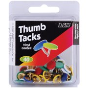 Thumbtacks 40/Pkg-Assorted Colors