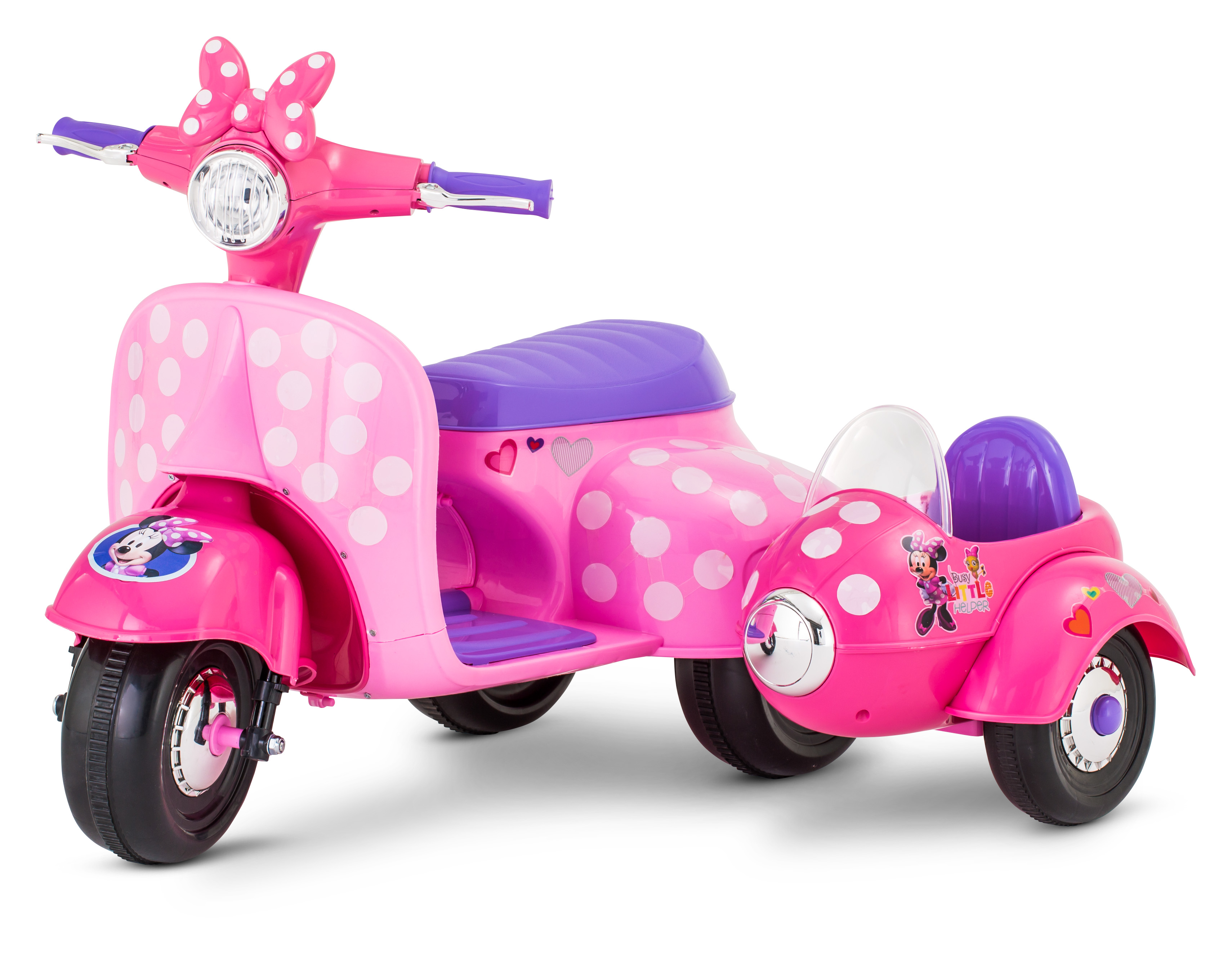 6-Volt Minnie Mouse Happy Helpers Scooter with Sidecar Ride