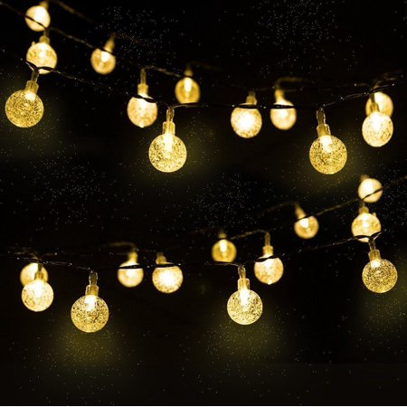 Garden Patio Solar Powered String Lights 20 Ft 30 LED Crystal Balls Warm White color - Disco Ball String Lights