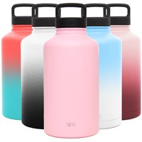Simple Modern 64 Ounce Summit Water Bottle - Large Stainless Steel Half Gallon Flask +2 Lids - Wide Mouth Double Wall Vacuum Insulated Pink Leakproof -Blush Pink