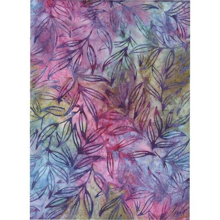 Robert Mardi Gras Batik ~ HALF YARD!! ~ Java Block Printed (Tjap Stamped) Lily Leaves, Orchid Leaves on Petunia Mottled Bali Tie Dye (Ikat) Batik Gradation ~.., By Kaufman ()