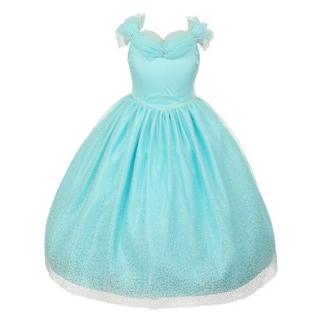 Rainkids Little Girls Aqua Rhinestones Sparkly Tulle Tiara Dress 2 - Princess Dresses For Little Girls