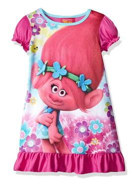 Dreamworks Trolls Girls Nightgown Sleepwear Evening Gowns Put Your Hair Up Size 6-10, Blue, Size: 4