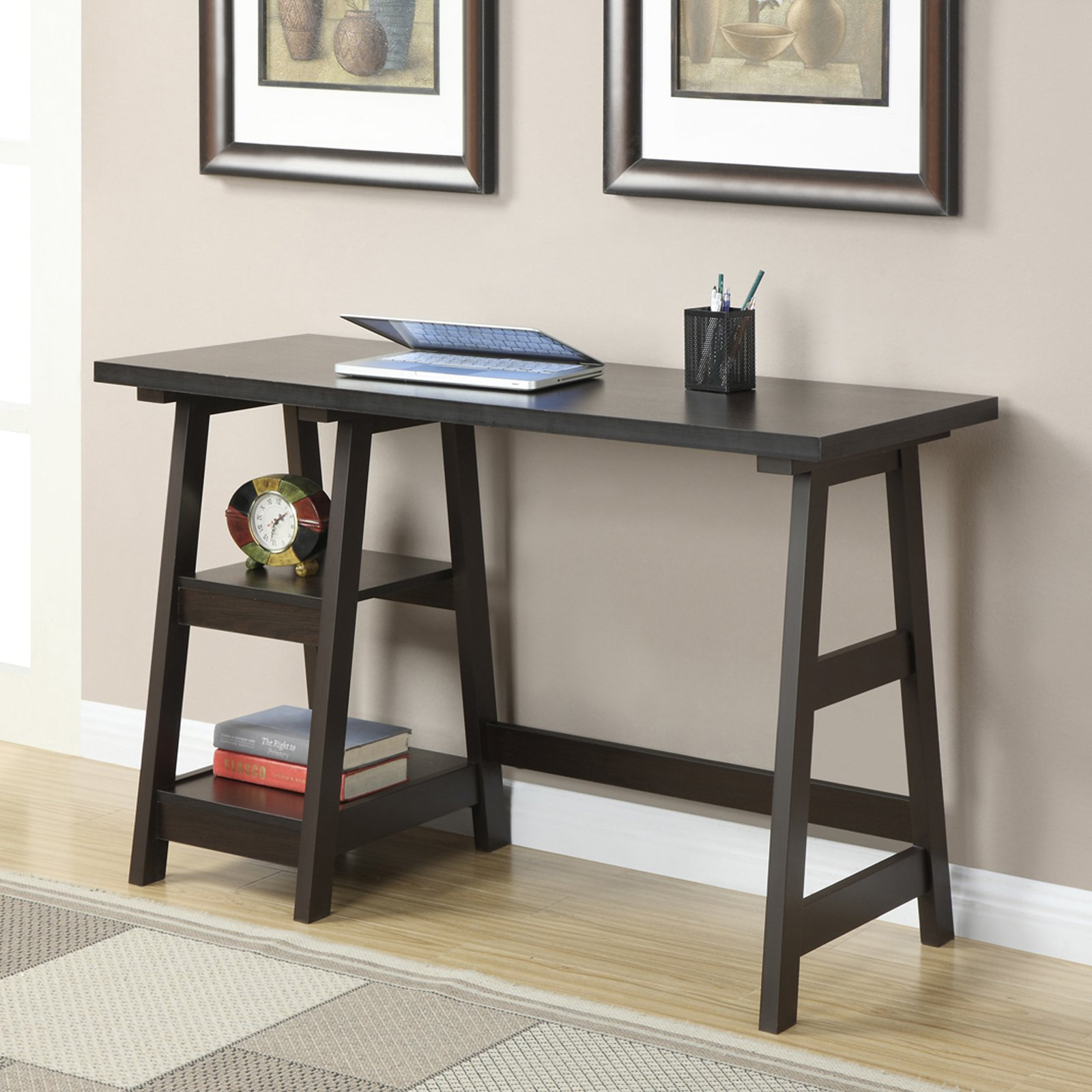 Convenience Concepts Designs2Go Trestle Desk, Multiple Finishes by Convenience Concepts Inc