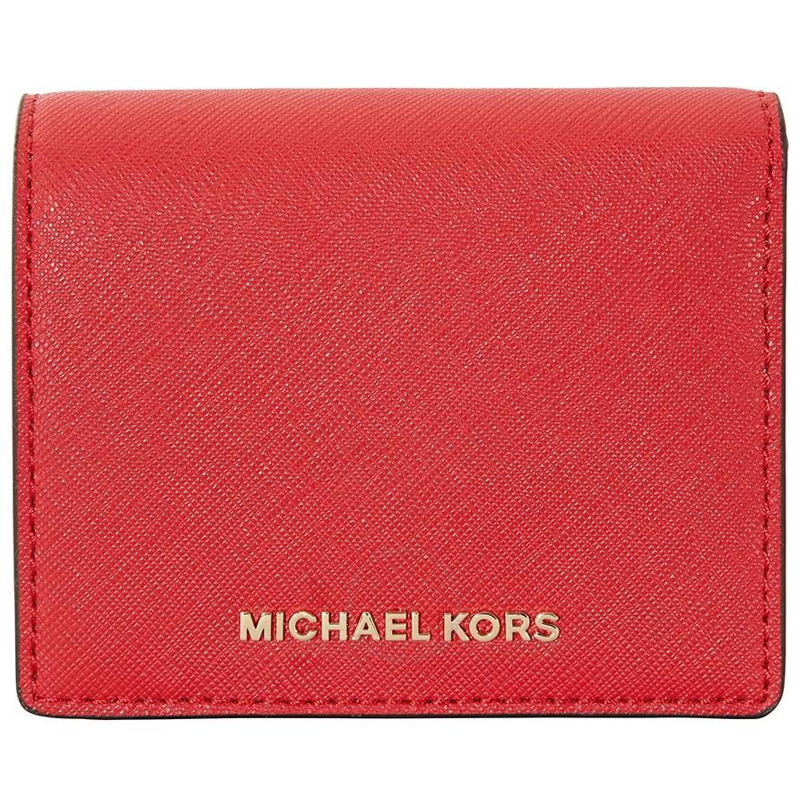 Michael Kors Jet Set Travel Saffiano Leather Card Holder - Bright Red