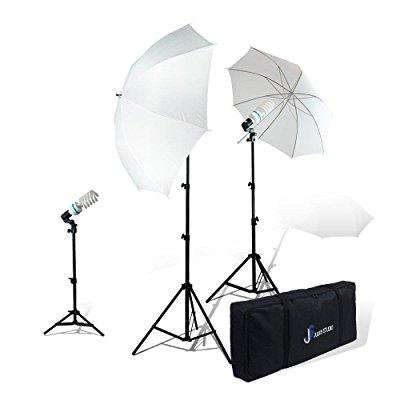 Julius Studio Photography Studio Video Portrait Umbrella Continuous Bulb Triple Lighting Kit (Photography Video Studio Umbrella)