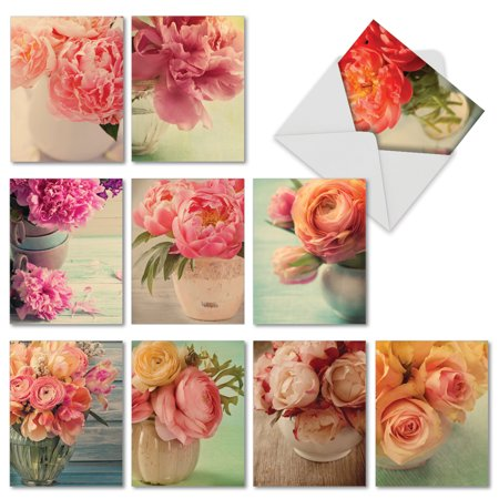 M6553OCB FULL BLOOMS' 10 Assorted All Occasions Greeting Cards Featuring Nostalgic and Softly Hued Peonies and Roses Set in Varied Vases with Envelopes by The Best Card